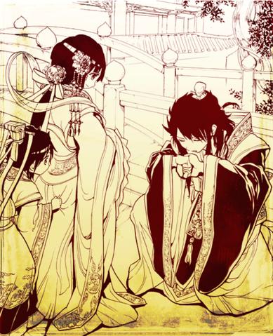 Fichier:Young Hakuei, Kouen & Hakuryuu in Websunday Backstage 210.png
