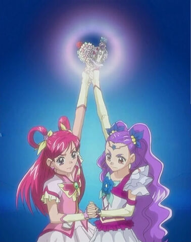 File:Yes! Pretty Cure 5 GoGo! Cure Dream and Milky Rose using a combined attack.jpg