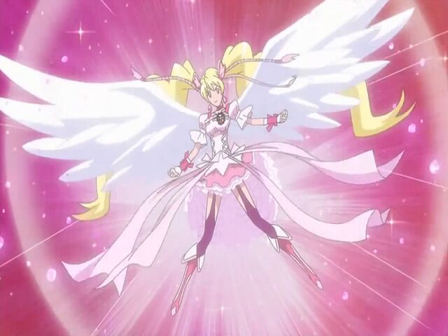 File:Fresh Pretty Cure! Angel Cure Peach transformation pose.jpg