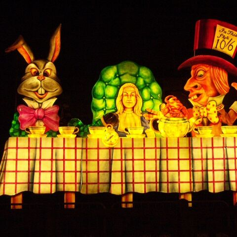 Alice in Wonderland at the Mad Hatter's Tea Party (Lit Up).
