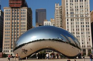 Cloud Gate (The Bean) from east'
