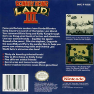 Donkey Kong Land III - North American Back Cover
