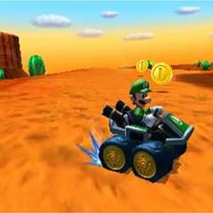 Luigi driving on N64 Kalimari Desert.