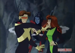 Scott and Jean are inturrupted by Nightcrawler XME
