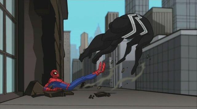 File:Spider-Man Kicks Venom Off Ledge SSM.jpg