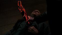 Randolph stabbed with Berserker Staff