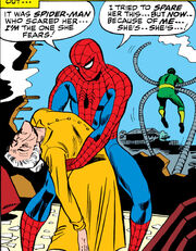 Peter Parker (Earth-616) Aunt May faints in Spider-Man's arms from Amazing Spider-Man Vol 1 54