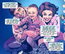 Peter Parker (Earth-616) as an infant with his parents Richard and Mary Parker from Amazing Spider-Man Vol 1 600