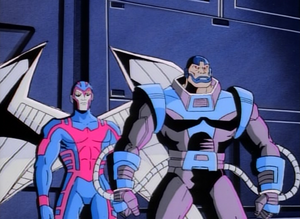 Warren Worthington III and En Sabah Nur (Earth-92131) from X-Men The Animated Series Season 1 10 0001