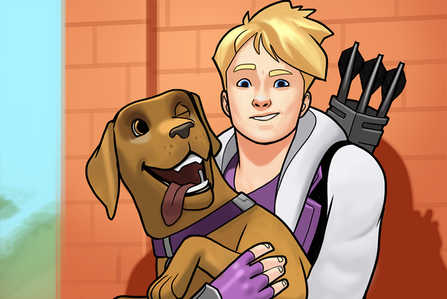 File:Clinton Barton (Earth-TRN562) and Lucky (Earth-TRN562) from Marvel Avengers Academy 001.png