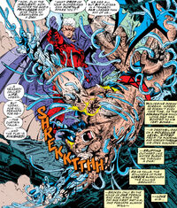 James Howlett (Earth-616) and Max Eisenhardt (Earth-616) from X-Men Vol 2 25 0001