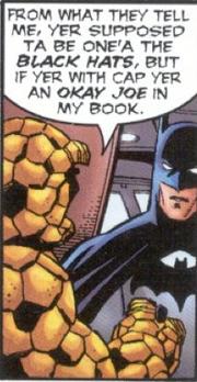 Benjamin Grimm (Earth-616) and Bruce Wayne from JLA Avengers