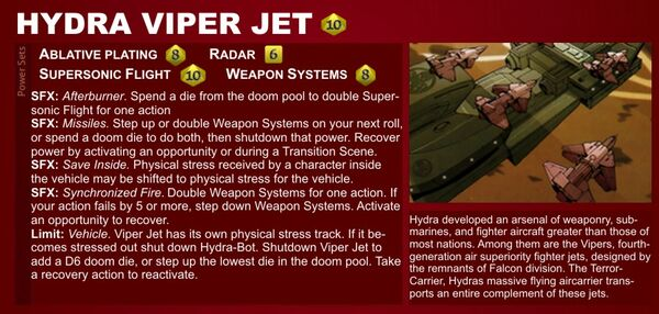 Marvel Heroic Roleplaying - Item Datafile Hydra Viper Jet