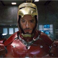 Tony preparing to go out as Iron Man.