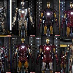 Iron Man mark I to mark VII and mark XLII.