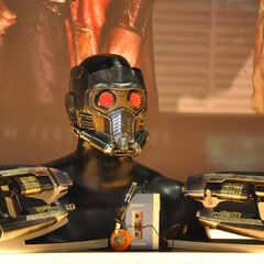 Star-Lord's helmet, guns and Sony Walkman on display at San Diego Comic Con 2013.