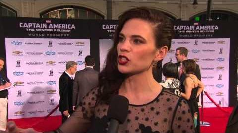"Captain America The Winter Soldier Hayley Atwell - ""Peggy Carter"" Movie Premiere Interview"