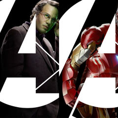 Banner featuring Captain America, Bruce Banner, Tony Stark and Thor for the Avengers.