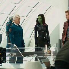 Commander Rael, Star-Lord, and Gamora