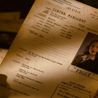 As Steve reads Peggy's file, Bucky's is on the desk as well, with him labeled MIA.