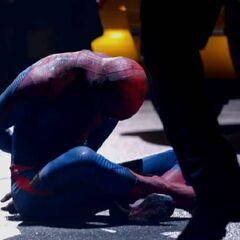 Spider-Man captured.