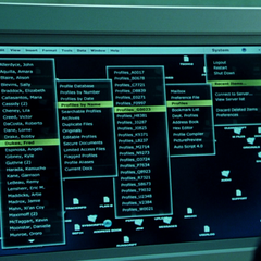 A list of mutants on Stryker's computer. DaCosta's name is tenth from the top.
