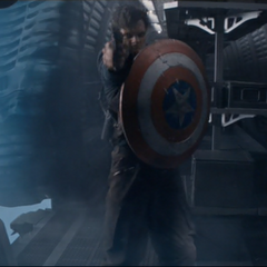 Bucky using Cap's shield in one final act of heroism.