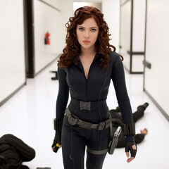 Natasha Romanoff took down Justin Hammer's guards.