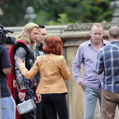 Stellan Skarsgard on set with Chris Hemsworth, Tom Hiddleston, and Scarlett Johansson