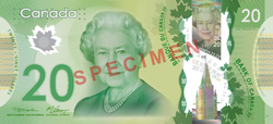 Canadian $20 note specimen - face