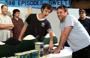 SpMatt and Trey Cutting 100th Episode Cake
