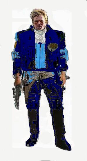 Captain Carter Tauron 1ablue jumpsuite lblack boots blue utility spacers vest