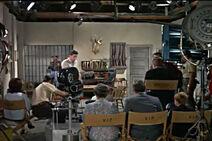 Watching filming on set