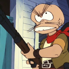 Danbei with a rifle.