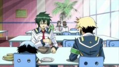 Hyuga having lunch with Zenkichi and Shiranui