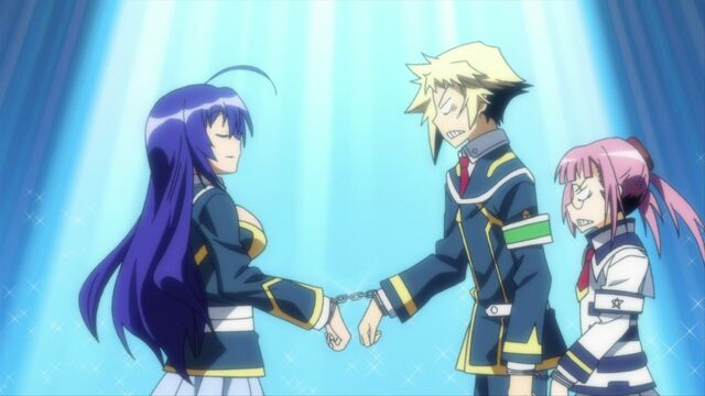 File:Onigase, Zenkichi, and Medaka handcuffed together.jpg