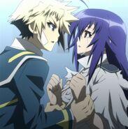 Zenkichi takes Medaka II's hands