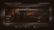 Up in Flames Menu Screen