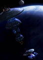 180px-USS Enterprise-D approaches an Earth Spacedock type starbase.jpg