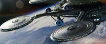 USS Enterprise (alternate reality) departs Spacedock