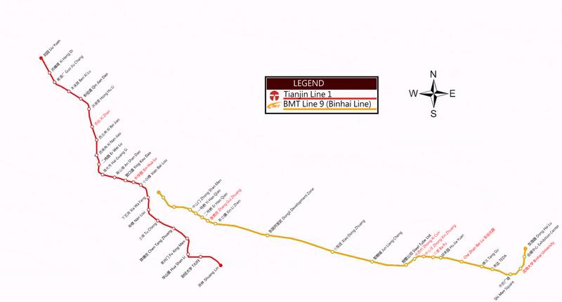 Rapid transit in Tianjin Map