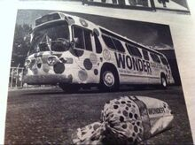 BRIDGEPORT GM FISHBOWL BUS WRAPPED IN WONDER BREAD AD LATE 1970s