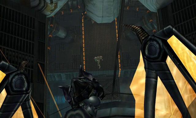 File:Ridley looks down on Samus Biotech Research Area 2 Dolphin HD.jpg