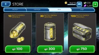 Battle Energy Crystals Store