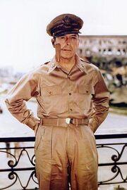 Douglas MacArthur smoking his corncob pipe