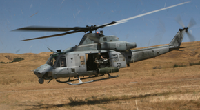UH-1Y flying at camp pendleton