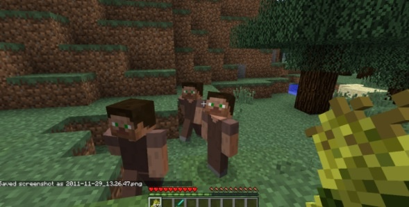 File:Steve villagers in a grass biome.jpg