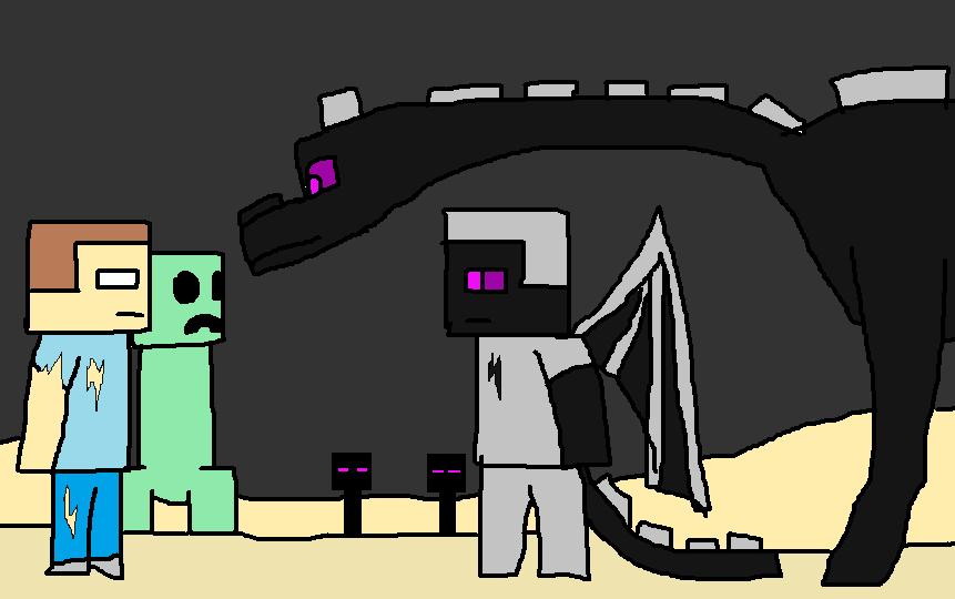 image ender dragon herobrine emerald and ender stevepng
