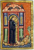 Vita sancti Cuthberti Beda Cuthbert and the lard ravens