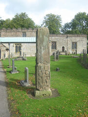 Anglo Saxon Cross, All Saints Church, Bradbourne, Derbyshire.jpg